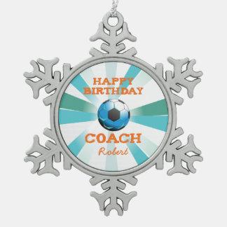 Happy Bday Soccer Coach Orange/Teal/Blue Starburst Pewter Snowflake Ornament