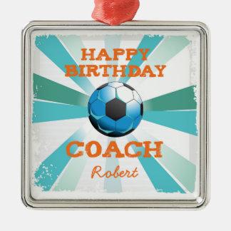 Happy Bday Soccer Coach Orange/Teal/Blue Starburst Silver-Colored Square Ornament