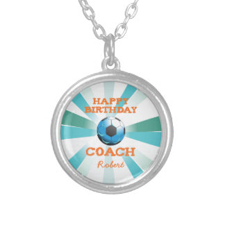 Happy Bday Soccer Coach Orange/Teal/Blue Starburst Silver Plated Necklace