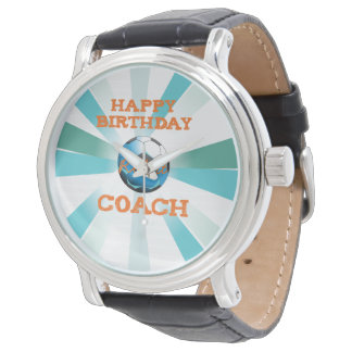 Happy Bday Soccer Coach Orange/Teal/Blue Starburst Watch