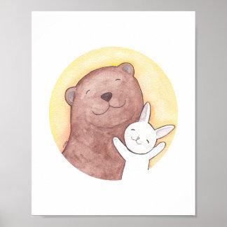 Happy Bear and Bunny Art Poster Woodland Decor