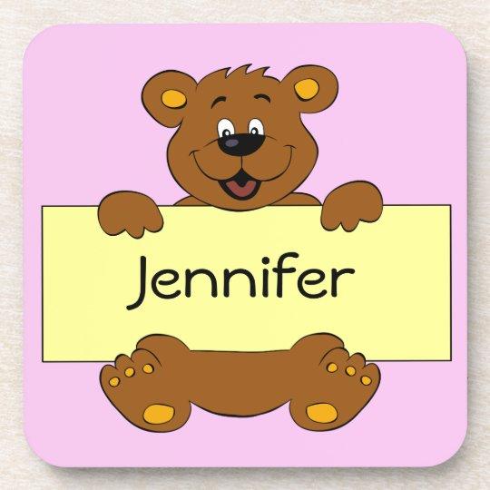 Happy bear name banner cartoon pink girl coaster