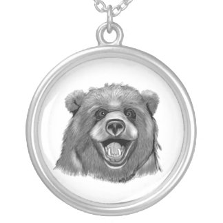 Happy  Bear Silver Plated Necklace