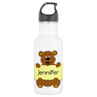 Happy bear with customizable banner cartoon kids 532 ml water bottle