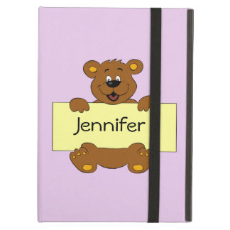 Happy bear with customizable banner kids ipad case