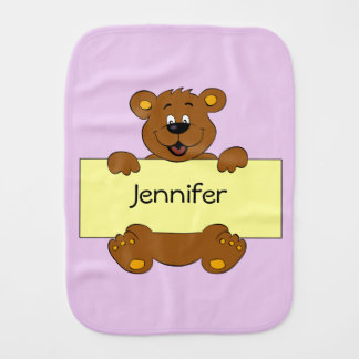 Happy bear with name banner baby girl burp cloth