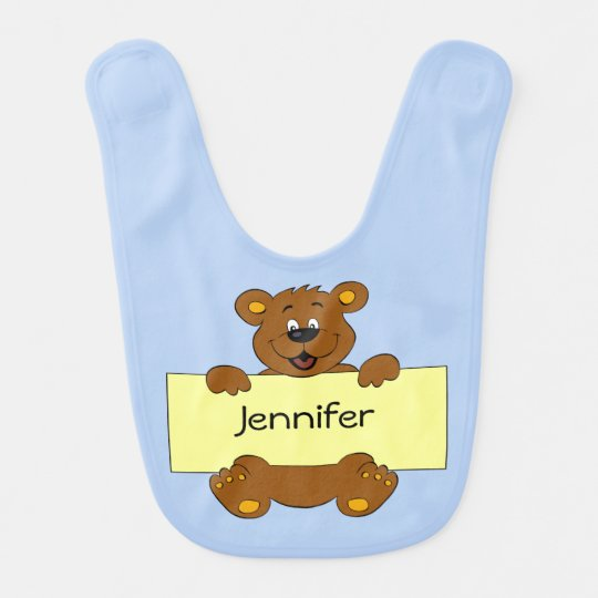 Happy bear with name banner cartoon baby boy bib