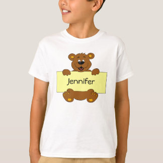 Happy bear with name banner cartoon kids T-Shirt