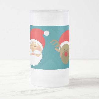 Happy Beautiful Cartoon Santa Reindeer Turquoise Frosted Glass Beer Mug