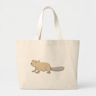 Happy Beaver Cartoon Large Tote Bag