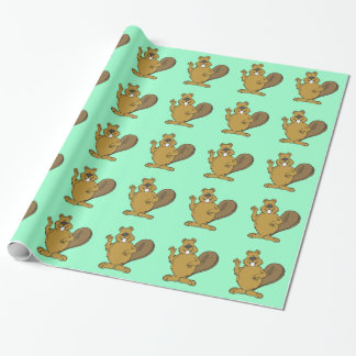 Happy beaver cartoon wrapping paper