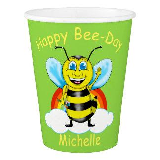 Happy Bee Birthday Paper Cups (Customizable)
