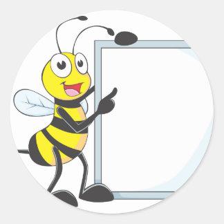 Happy Bee Classic Round Sticker