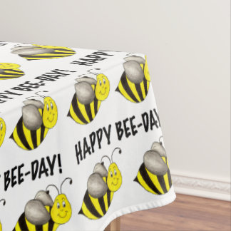 Happy Bee Day Bday Birthday Party Bumblebee Print Tablecloth