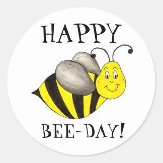 Happy Bee Day Bday Bumblebee Birthday Honeybee Classic Round Sticker