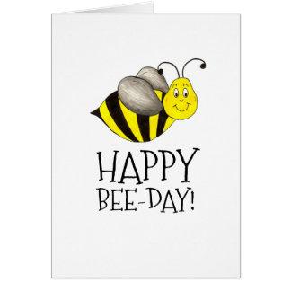Happy Bee Day Bday Yellow Bumblebee Birthday Card