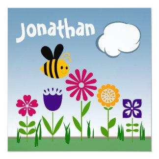 "Happy Bee Flower Garden BIRTHDAY 5.25"" Square Invitation Card"
