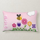 Happy Bee Flower Garden Personalized Lumbar Pillow