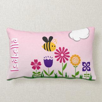 Happy Bee Flower Garden Personalized Lumbar Pillow