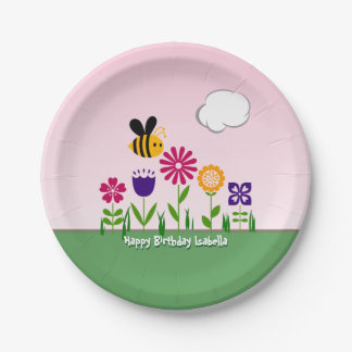 Happy Bee Flower Garden Personalized Paper Plate