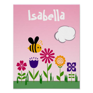 Happy Bee Flower Garden Personalized Poster