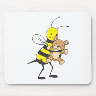 Happy Bee Playing with Teddy Bear Mouse Pad