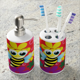 Happy bee soap dispenser and toothbrush holder