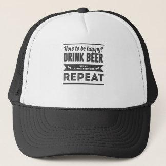 Happy Beer Booze German Shepherd Dog Life Funny Trucker Hat