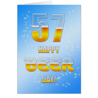 Happy Beer day 57th birthday card