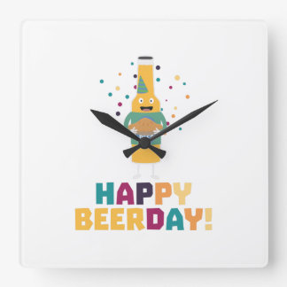 Happy Beerday Beerbottle Zhnp3 Wall Clock