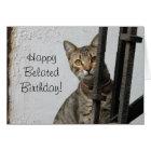 Happy Belated birthday tabby cat greeting card