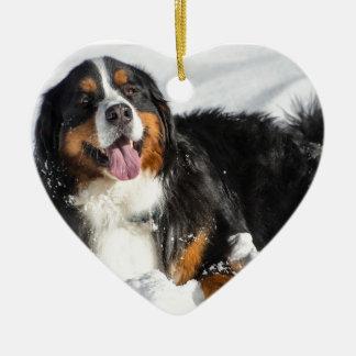 Happy Bernese Mountain Dog In Winter Snow Ceramic Heart Ornament