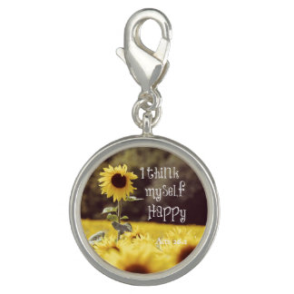 Happy Bible Verse with Sunflowers Charm