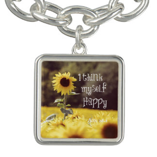 Happy Bible Verse with Sunflowers Charm Bracelet