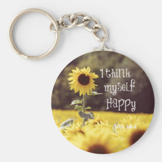 Happy Bible Verse with Sunflowers Keychain