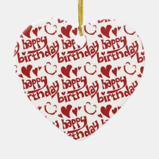 happy birthdap handwriting tiled text ceramic heart ornament