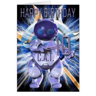 Happy Birthday 10th, Robot Cat, Techno Modern Greeting Card