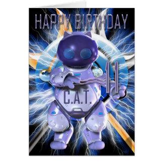 Happy Birthday 11th, Robot Cat, Techno Modern Greeting Card