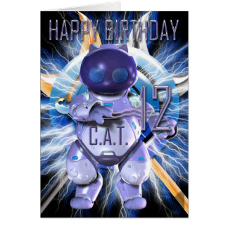 Happy Birthday 12th, Robot Cat, Techno Modern Card