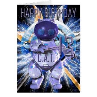 Happy Birthday 13th, Robot Cat, Techno Modern Greeting Card