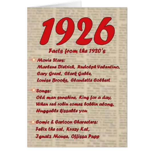 Happy Birthday 1926 Year of Birth 20's 20s twentie Card