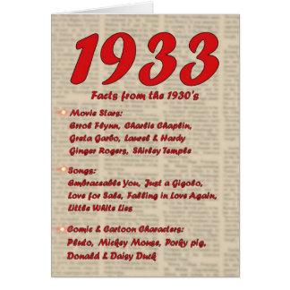 Happy Birthday 1933 Year of Birth 30's 30s thirtie Card