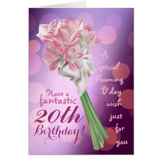 Happy Birthday ! - 20th pink flowers Greeting card