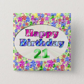 Happy Birthday 21 2 Inch Square Button