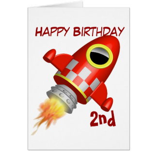 Happy Birthday 2nd Rocket Ship Theme Greeting Card