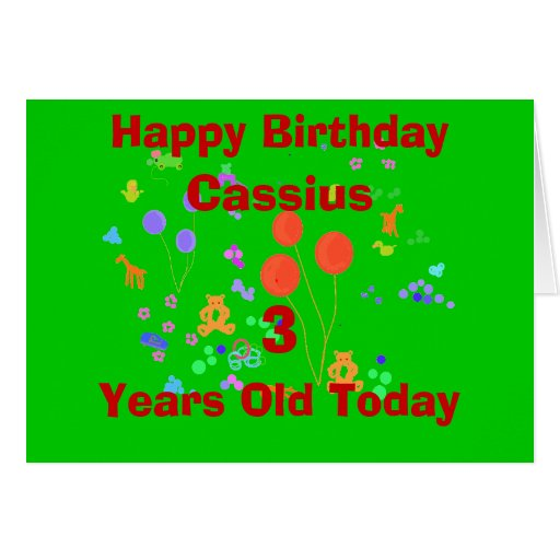 Happy Birthday 3 year old add name/change age Greeting Cards