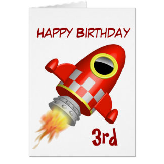 Happy Birthday 3rd Rocket Theme Greeting Card