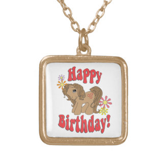 Happy Birthday 4 Gold Plated Necklace
