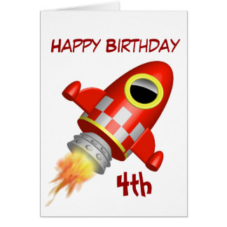 Happy Birthday 4th Little Rocket Theme Card