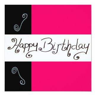 "Happy birthday 5.25"" square invitation card"